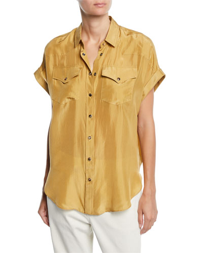 Short-Sleeve Silk Snap-Front Western Blouse