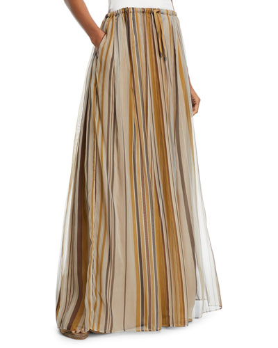 Striped Organza Long Skirt