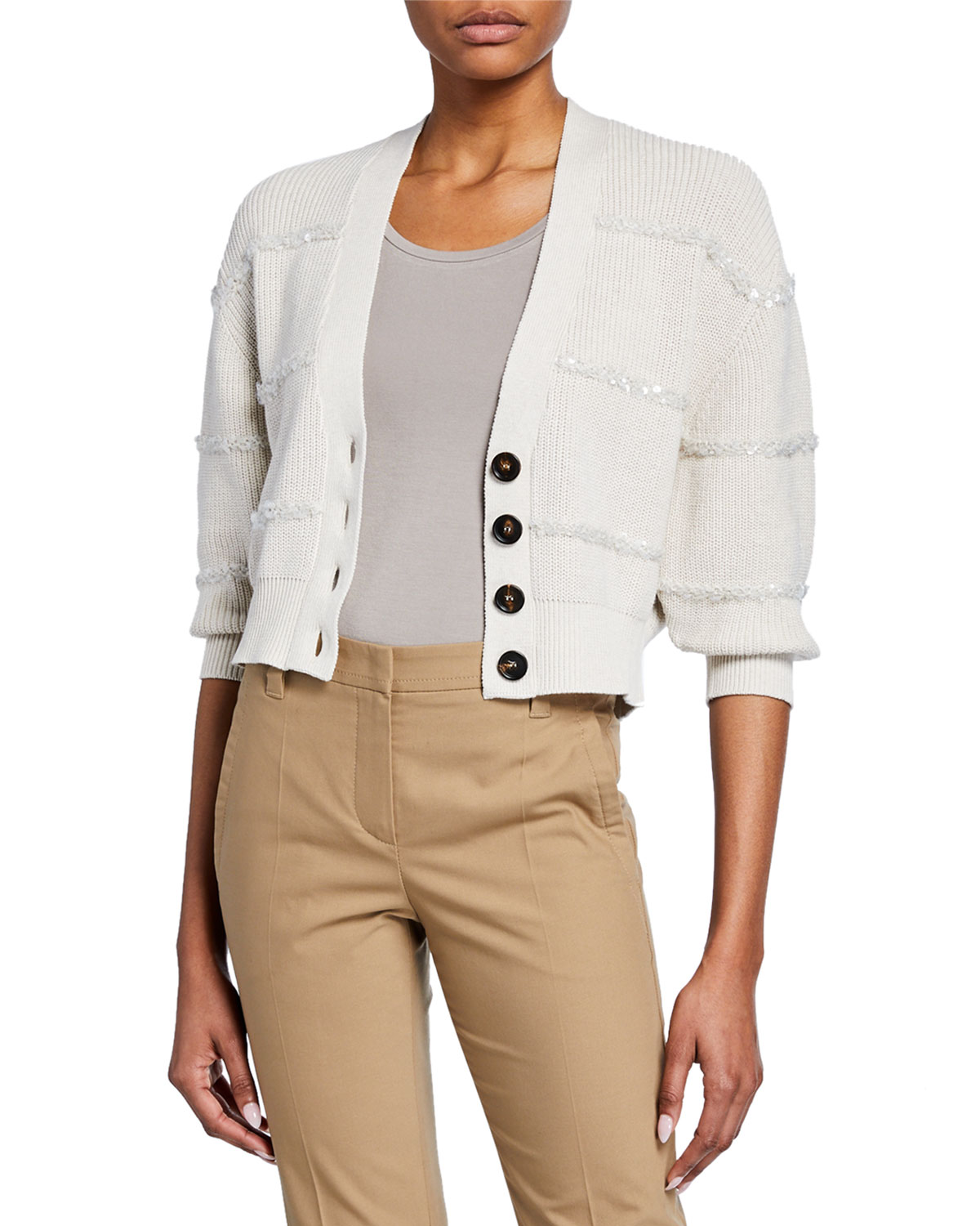 Brunello Cucinelli Tops SEQUIN-STRIPED TEXTURED CROPPED CARDIGAN