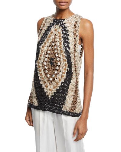 Sleeveless Shimmer Intarsia Sweater