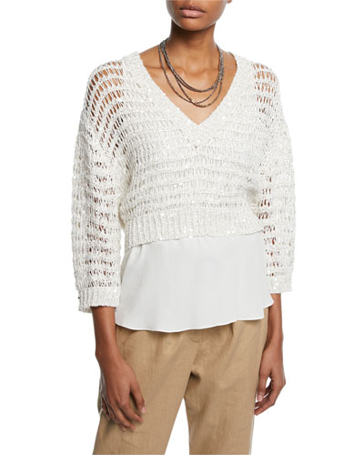 Sequined Netted V-Neck Sweater w/ Underpinning