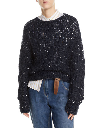 Sequined Crewneck Open-Knit Sweater