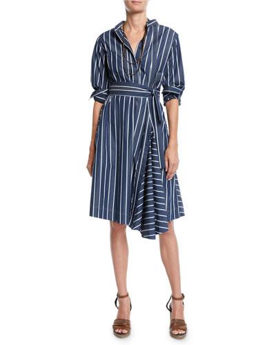 Pinstriped-Poplin Midi Shirtdress