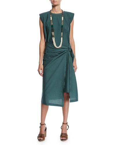 Poplin Cap-Sleeve D-Ring Sarong Dress