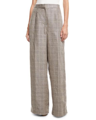 1ba21f7f3159aa Wide-Leg Linen Houndstooth Pants