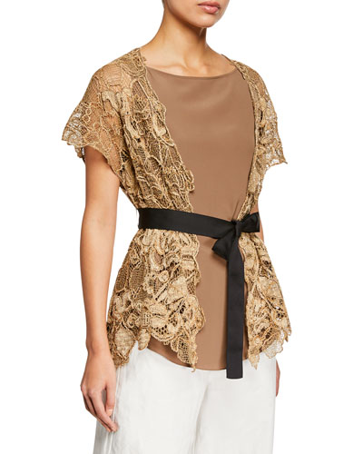 Two-Piece Floral Embroidered Wrap Top with Silk Tank