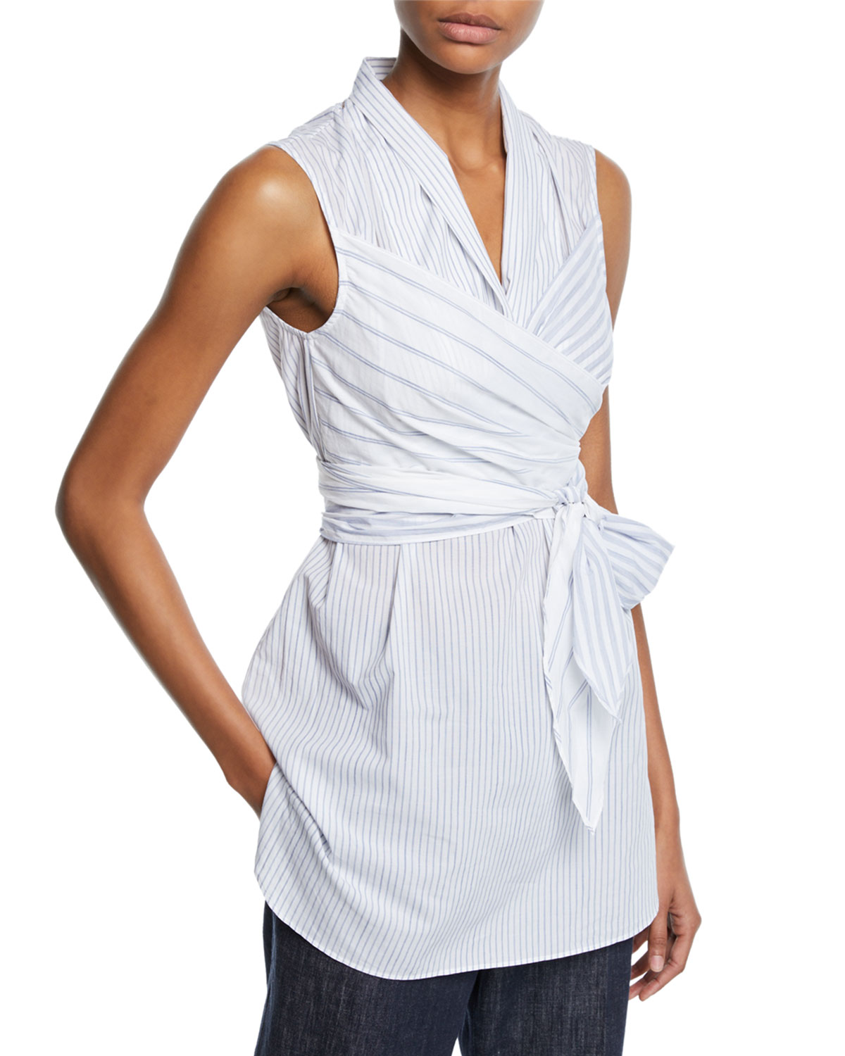 Brunello Cucinelli Tops SLEEVELESS STRIPED WRAP BLOUSE
