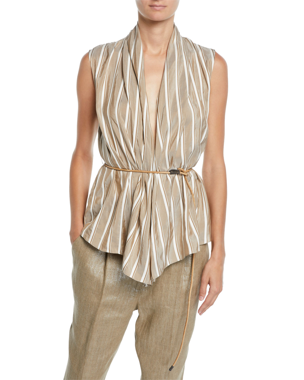 Brunello Cucinelli Tops SLEEVELESS STRIPED SILK WRAP TOP W/ LEATHER BELT