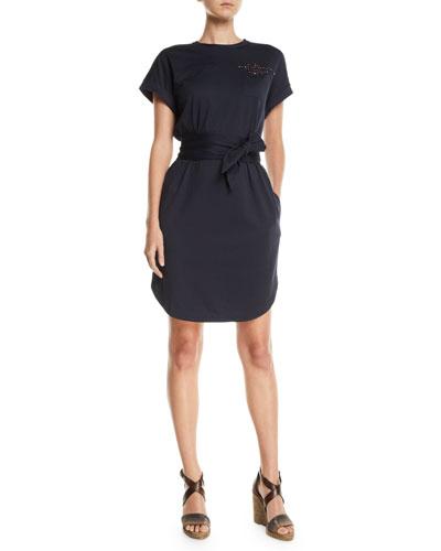 Beaded Short-Sleeve Tie-Waist Shirtdress