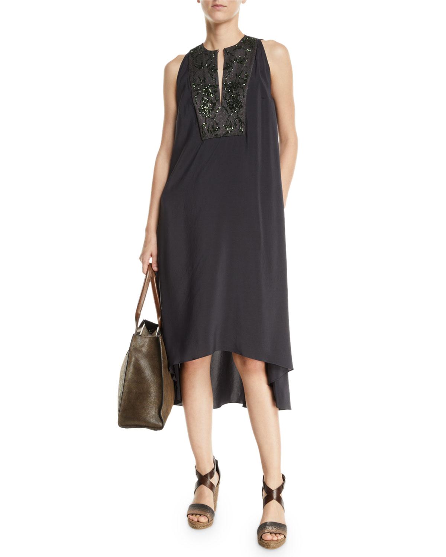 Brunello Cucinelli Dresses SLEEVELESS PAILLETTEED-BIB HIGH-LOW DRESS