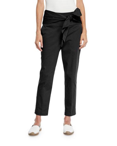 Gabardine Bow-Waist Cropped Pants