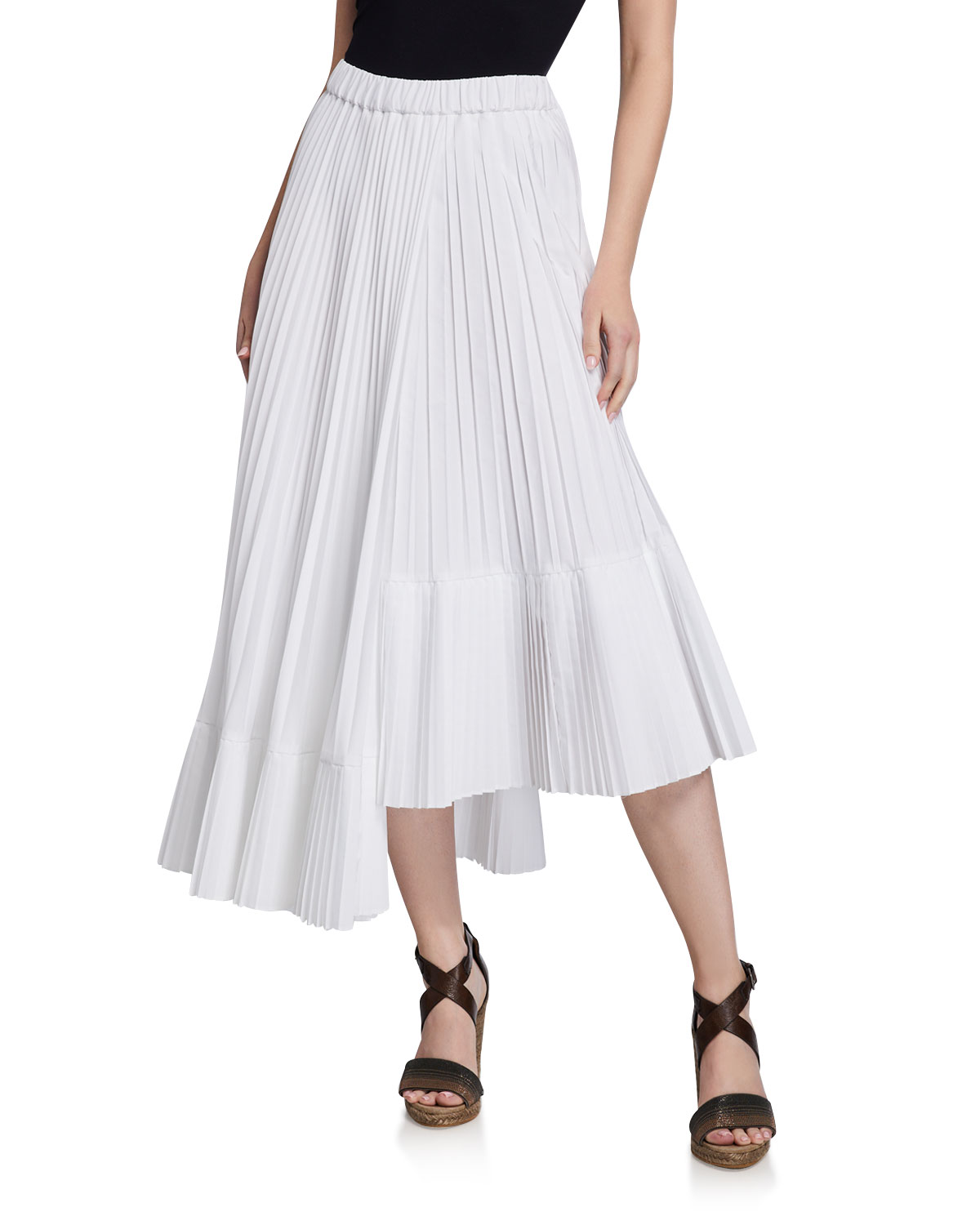 Brunello Cucinelli Skirts COTTON FAUX WRAP PLEATED MIDI SKIRT
