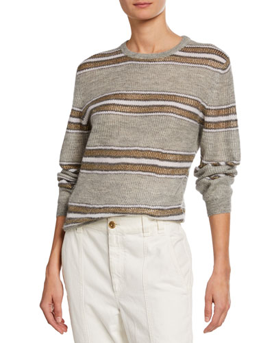 Shimmer=-Striped Crewneck Sweater
