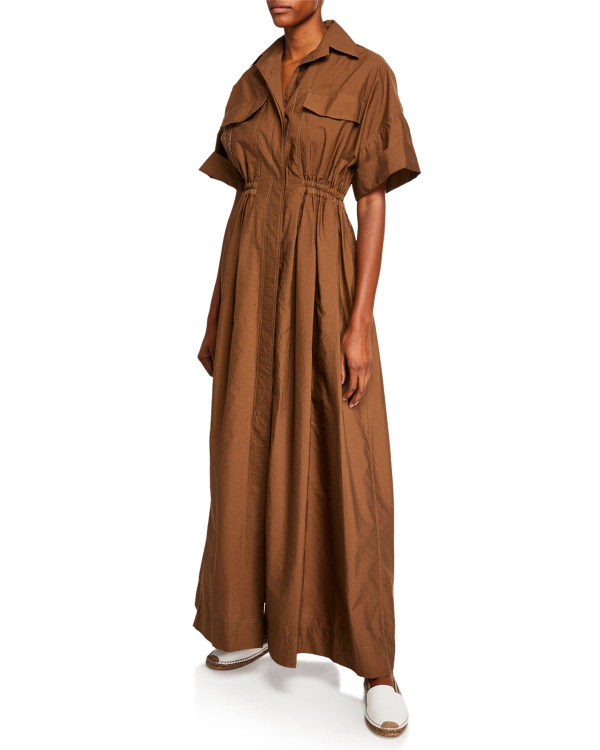 Brunello Cucinelli Dresses Short-Sleeve Crinkled Cotton Shirtdress, BROWN