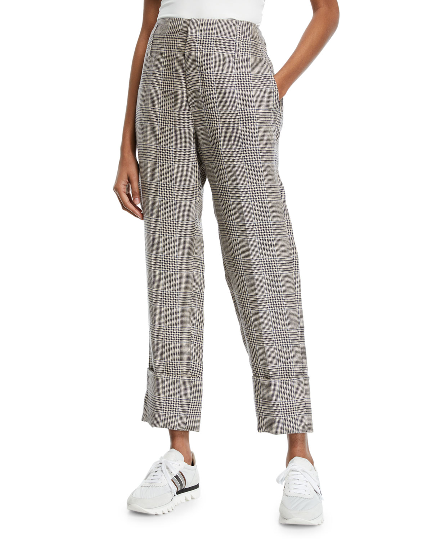 Brunello Cucinelli Pants CUFFED LINEN HOUNDSTOOTH PANTS