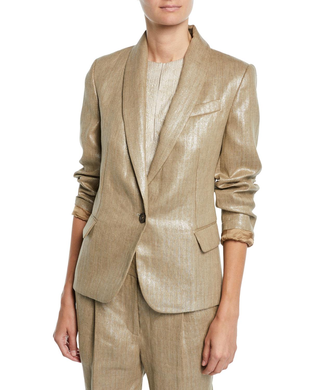Brunello Cucinelli Blazers Metallic-Linen One-Button Blazer Jacket, BEIGE