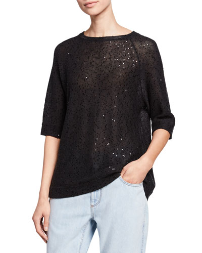 Linen-Silk Pailletteed Knit Short-Sleeve Tee