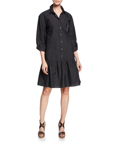 Monili Trim Drop-Waist Crinkle Cotton Shirtdress