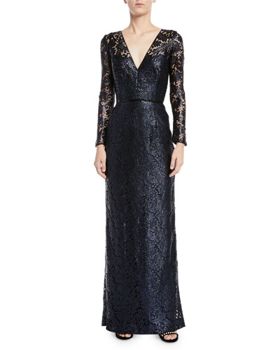 Long-Sleeve Sequined Lace Illusion Gown