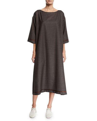 Slim A-Line Wool-Silk Midi Dress