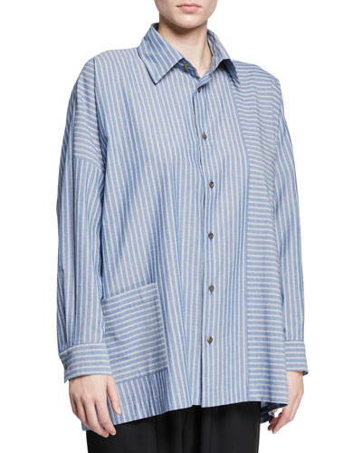 Wide-Striped Paneled Button-Front Shirt