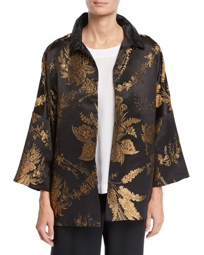 3/4-Sleeve Golden Floral-Jacquard Silk Jacket