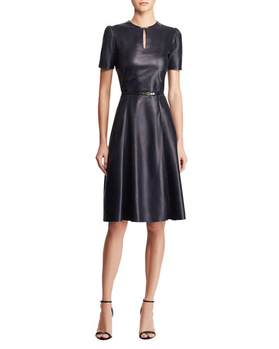 Farren Belted Leather Midi Dress