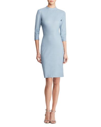 Matilda 3/4-Sleeve Leather Bodycon Dress