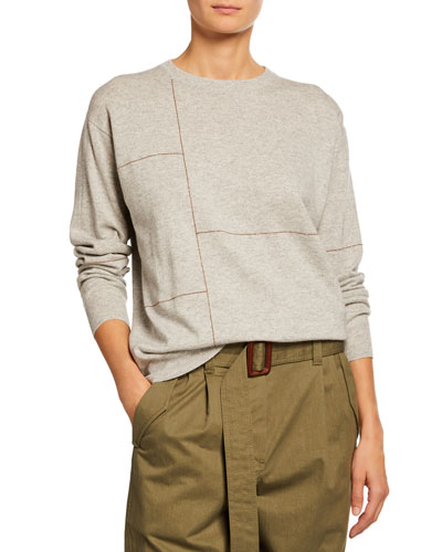 Cashmere Monili-Patchwork Crewneck Sweater