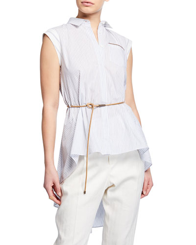 Sleeveless Button-Front Belted High-Low Top