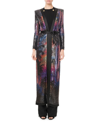 Sequined Palm-Sunset Print Duster Cardigan