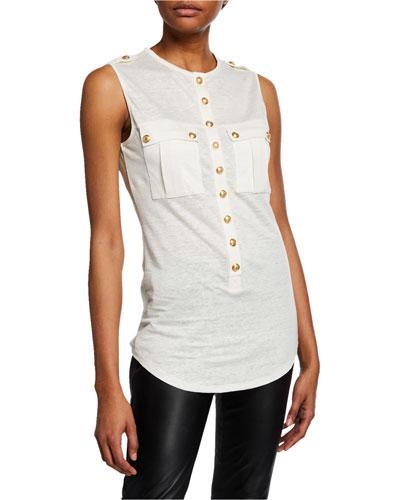 Sleeveless Tunisan-Linen Button-Front Top