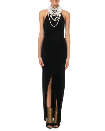 Halter Pearly Necklace Gown