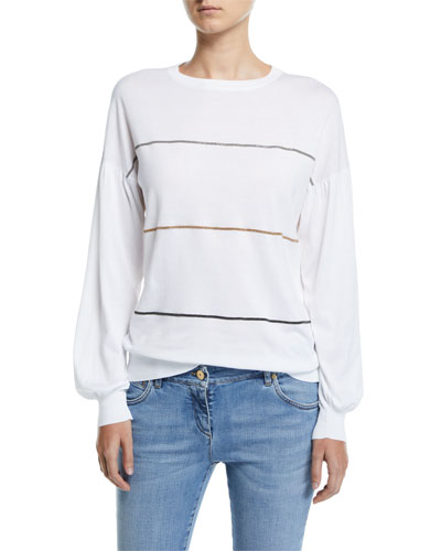 Monili-Striped Balloon-Sleeve Sweater
