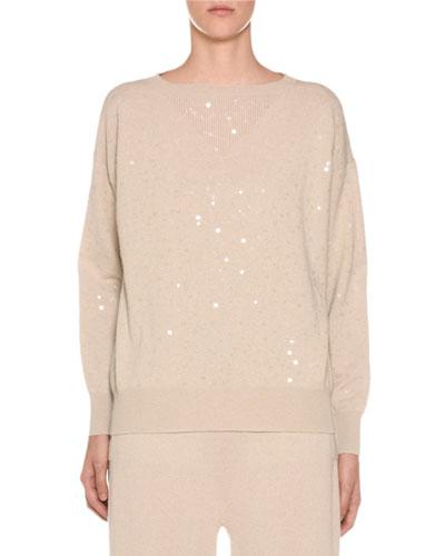 Sequined-Cashmere Crewneck Sweater