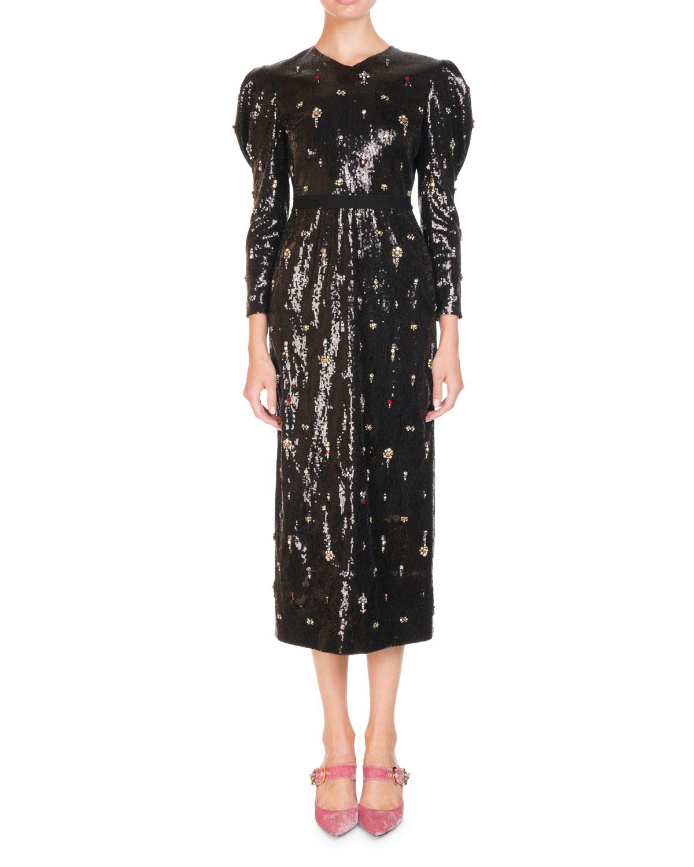 Erdem Dresses EMMY DITSY-STONE EMBELLISHED PUFF-SLEEVE MIDI DRESS