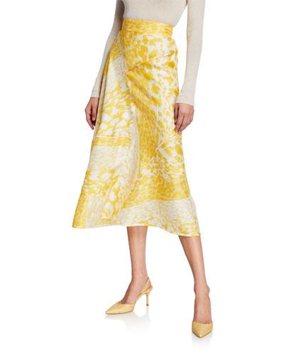 High-Waist A-Line Leopard-Print Silk Midi Skirt
