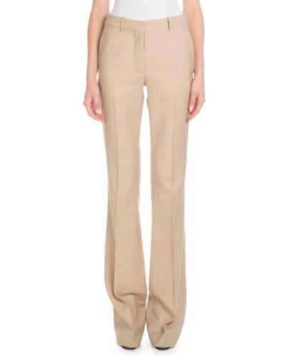High-Waist Flared-Leg Wool Pants