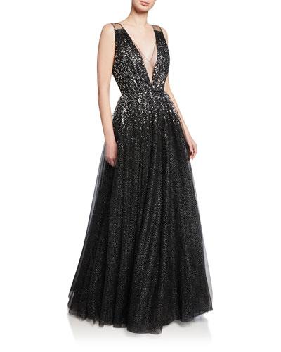 Samar Beaded V-Neck Ball Gown