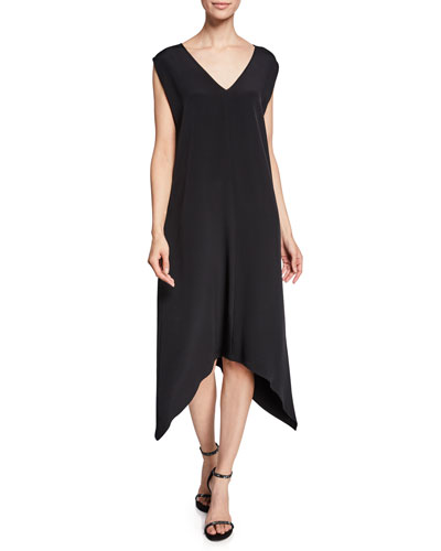 V-Neck Foulard Silk Crepe Handkerchief Dress