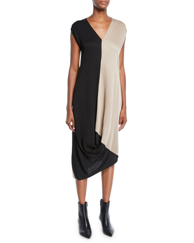 Two-Tone Drape Midi Dress