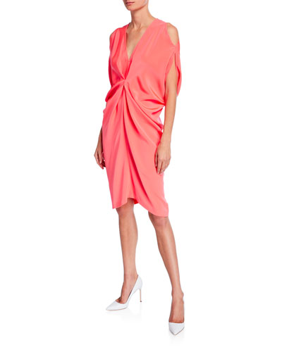 Miu Knotted Silk Crepe Dress