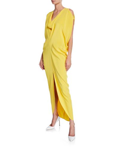 Venus Sleeveless Silk Crepe Long Dress