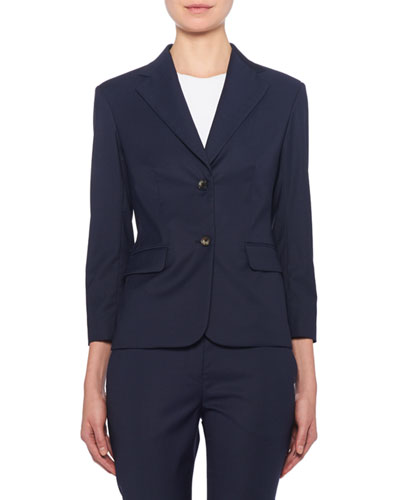 Linder 3/4-Sleeve Wool Blazer