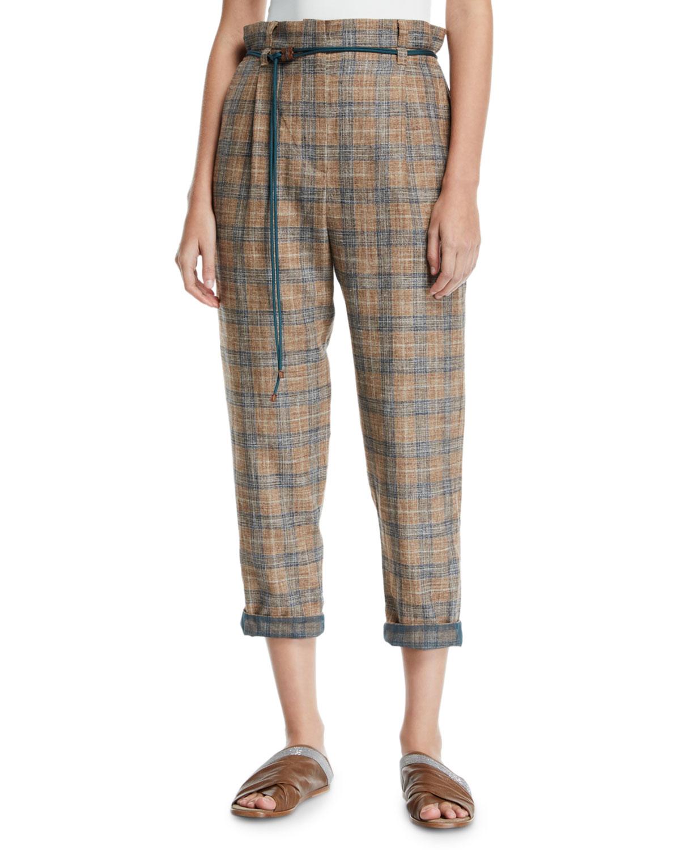 Brunello Cucinelli Pants Plaid Linen Rope-Waist Crop Pants, BROWN/BLUE
