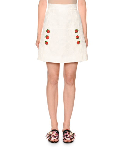 A-Line Jacquard Skirt with Button Details