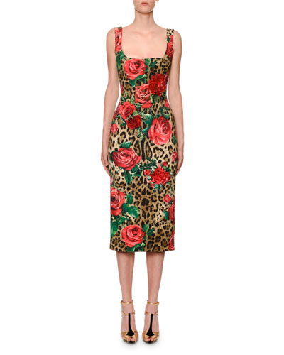 0eb119ef334f74 Sleeveless Square-Neck Leopard   Rose Cady Pencil Dress