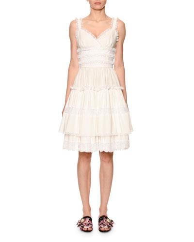 Sleeveless Tiered Lace-Trim V-Neck Dress