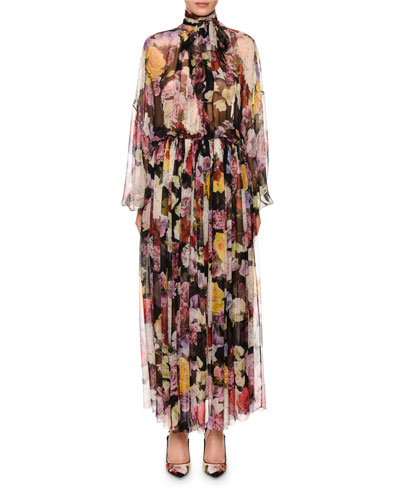 High-Neck Floral-Print Long-Sleeve Chiffon Maxi Dress