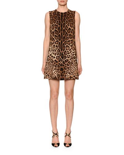 Sleeveless Leopard Print Shift Dress